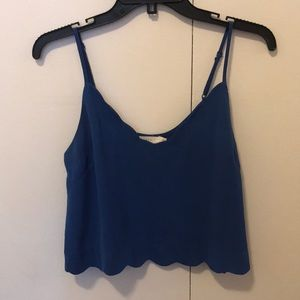 cobalt blue cropped scallop tank top